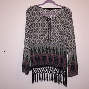 Monteau top long sleeves with fringe Large